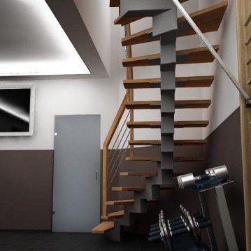 Laiptai ant metalinės konstrukcijos su dekoruotu turėklu MT 10