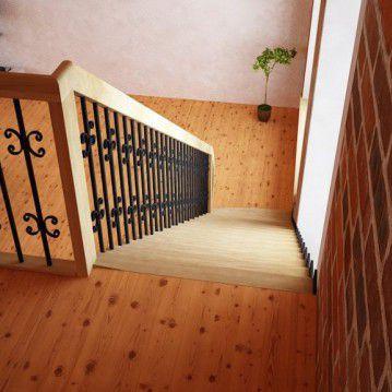 Tiesūs išlengvinti mediniai laiptai SA 17