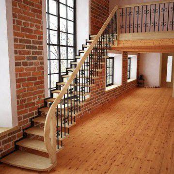 Tiesūs išlengvinti mediniai laiptai SA 16