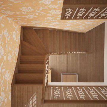 Sąvaržiniai laiptai su dekoruotais šviesiais turėklais SA 05