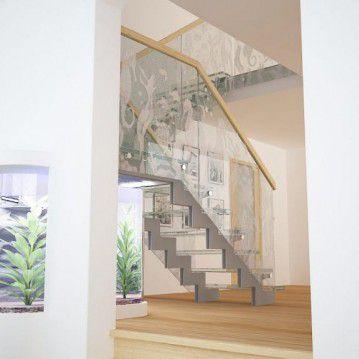 Stikliniai laiptai ant nerūdijančio plieno sijų ST 04
