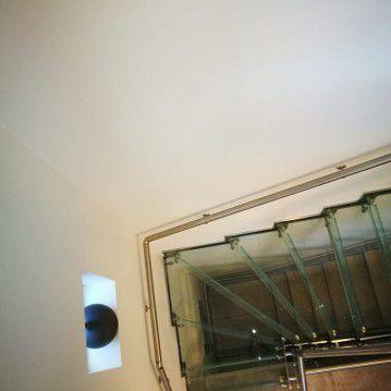 Stikliniai laiptai su nerūdijančio plieno turėklu ST 29