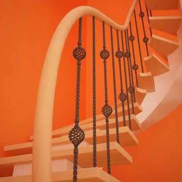 Mediniai laiptai ant metalinės konstrukcijos MT 05